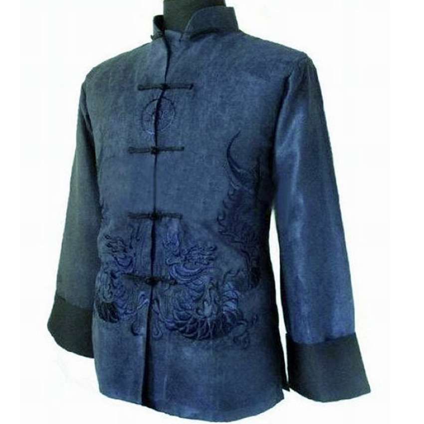 Navy Blue New Spring Chinese Mens Fleece Embroidery Jacket Coat with Dragon Size S M L XL XXL XXXL Free Shipping M1150Одежда и ак�е��уары<br><br><br>Aliexpress