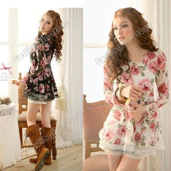 Fashion Women's Ladies Korea Long Sleeve Rose Flower Prints Lace Joker Casual Tops Shirts Blouses 2 Colors Free Shipping 0286