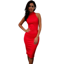New Spring Summer Fashion Turtleneck Sleeveless Casual Elegant Pencil Dress Women Sexy Club Cocktail Party Bodycon Bandage Dress(China (Mainland))