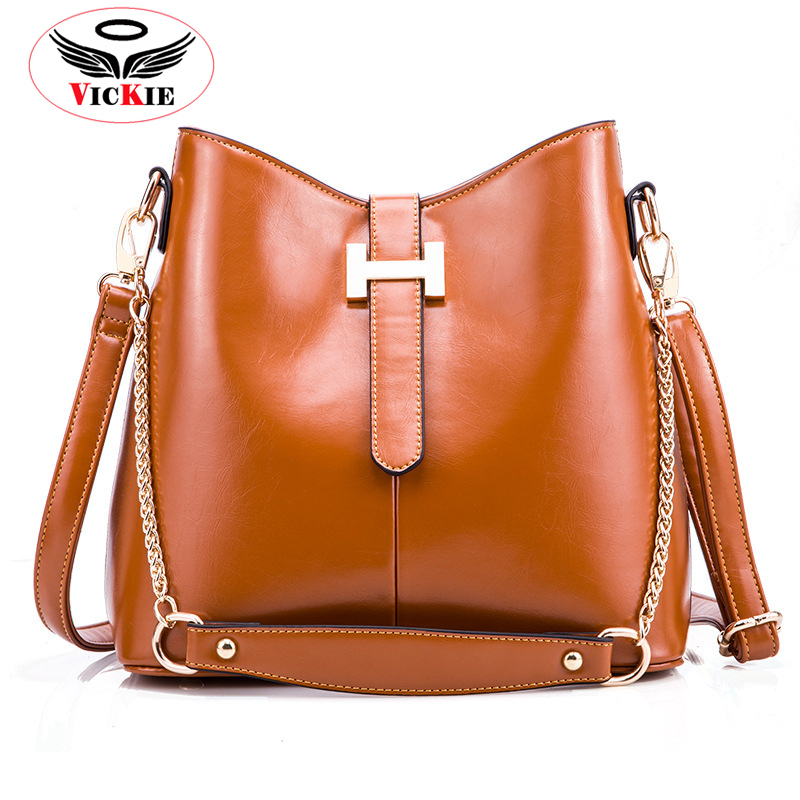 Genuine Leather Vintage Women's Shoulder Bags Cowhide Lady Messenger Bucket Bag Chain Letter Female Totes Retro Tote Dama Bolsa(China (Mainland))