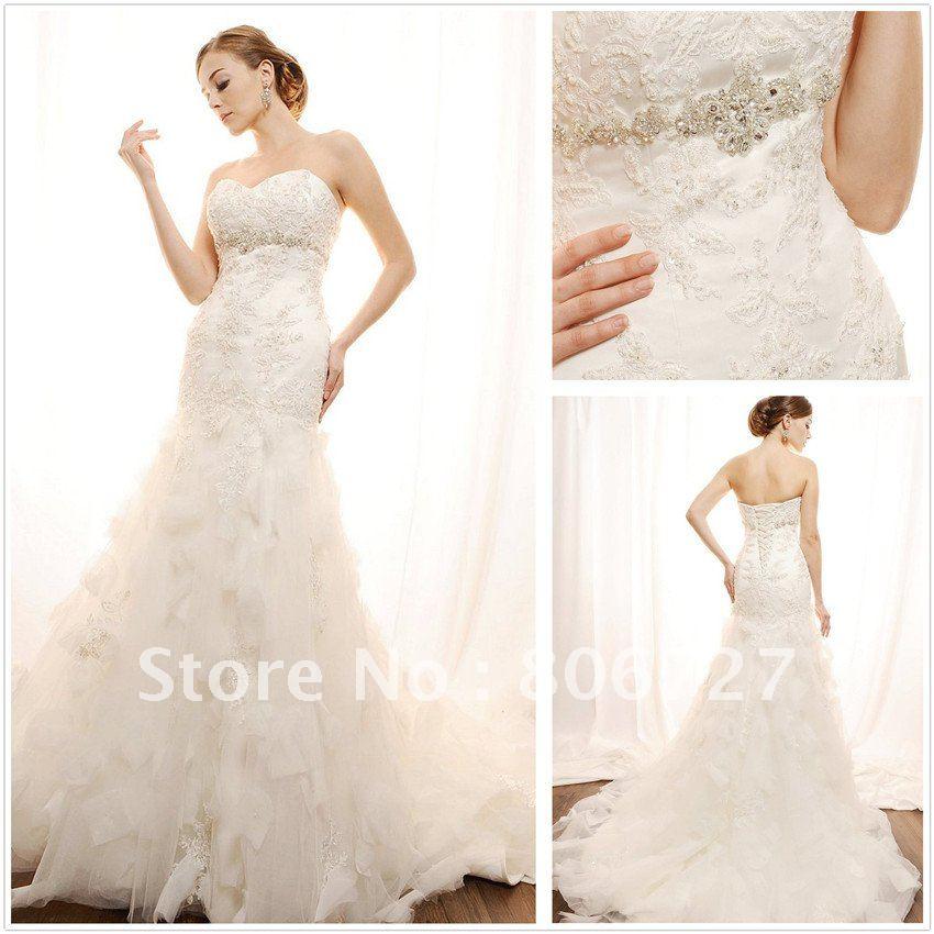 Buy elegant beaded lace mermaid long for Beaded wedding dress designers