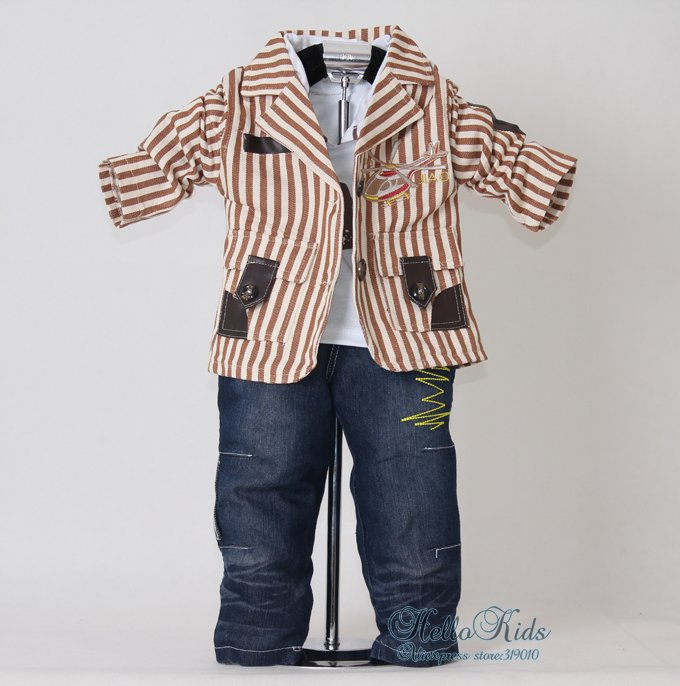 2012 New Autumn Coffee Sriped Kids Clothes Set Boys 3Pcs Suit and T Shirt and Jeans Whosale Clothing 100% Same Like Pictures(China (Mainland))