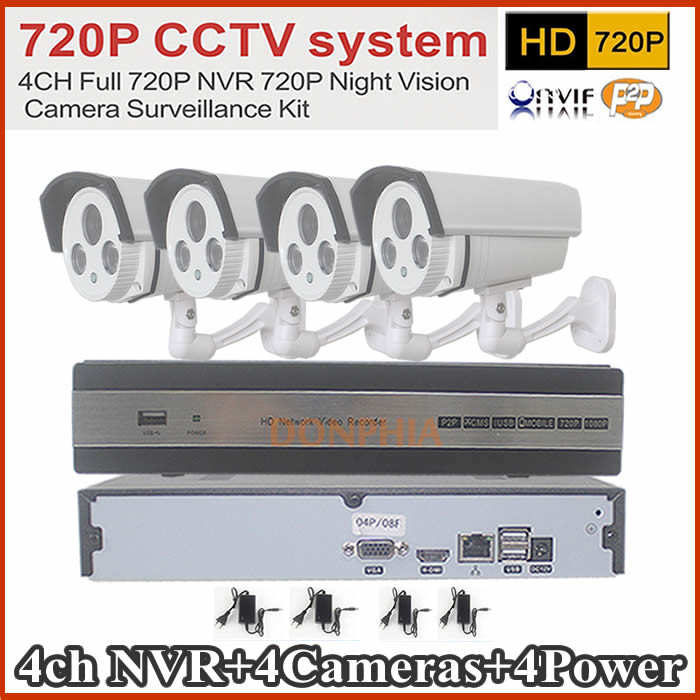 ip camera kit system 4CH Full Standalone Network NVR KIT 1.0 Megepixel 720p Outdoor IR Cut IR Camera VIdeo CCTV System Kit Hot(China (Mainland))