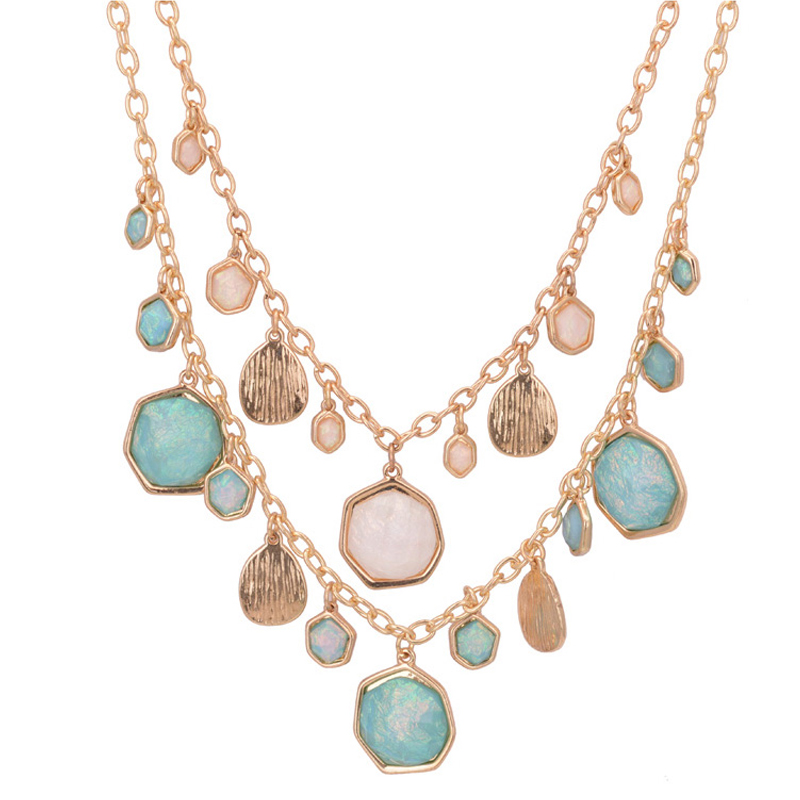 2015 New Fashion Bohemian Necklace Gold Chain Colorful Beaded Charm Statement Bib Necklace For Women <br><br>Aliexpress