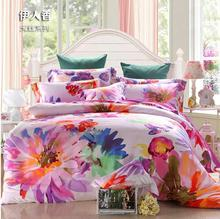 Luxury Tencel Satin Silk flower printed Queen/King Size bedding sets wedding decoration duvet cover bedclothes EMS Free Shipping(China (Mainland))