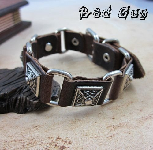 sl137 leather bracelet men 100 genuine leather stainless vintage metal charm bracelets Gothic Style fashion jewelry