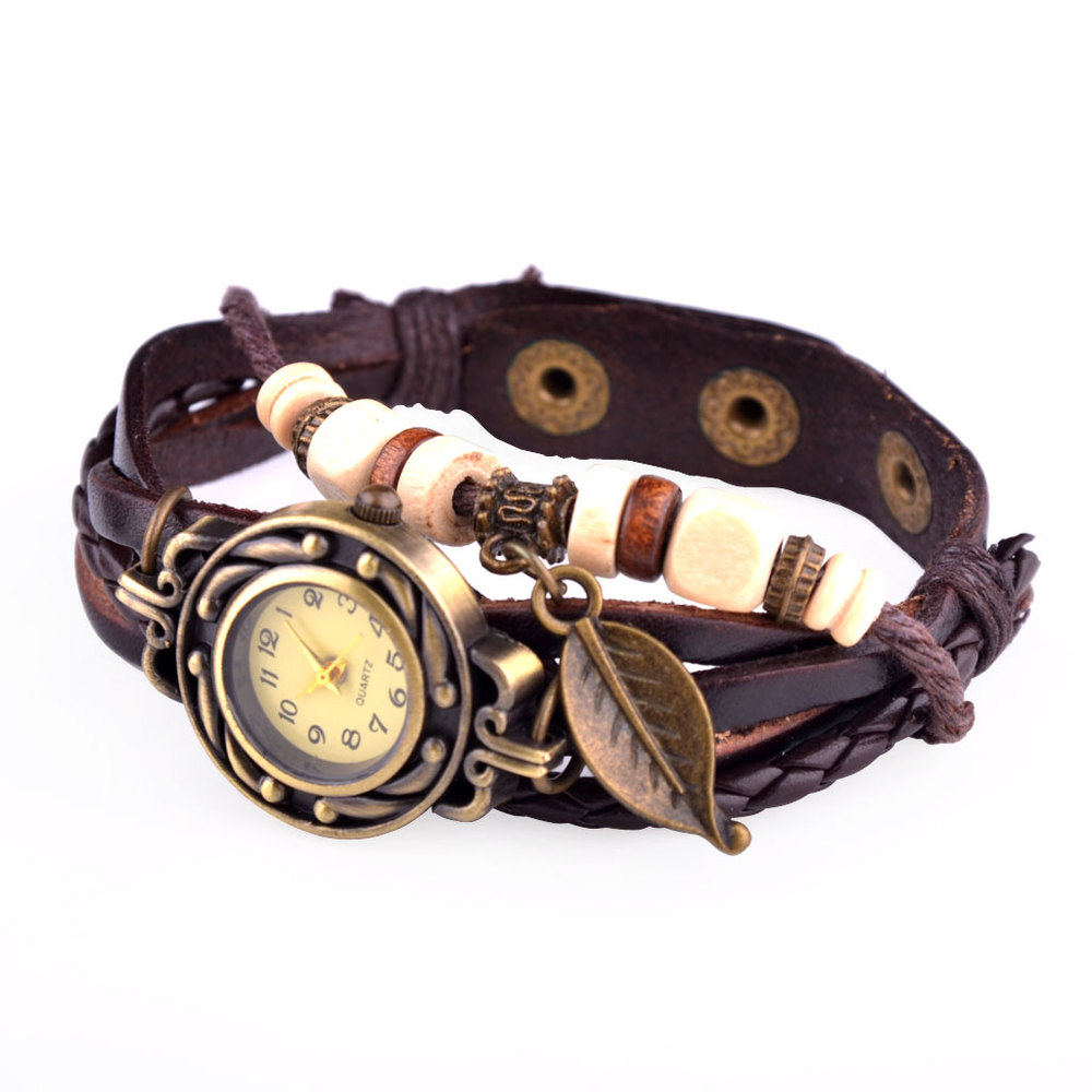 Fashion Long Leather Strap Punk Style Women Bracelet Watch Leaf Pendant Retro Casual Quartz Analog Wrist Watch relogio feminino(China (Mainland))