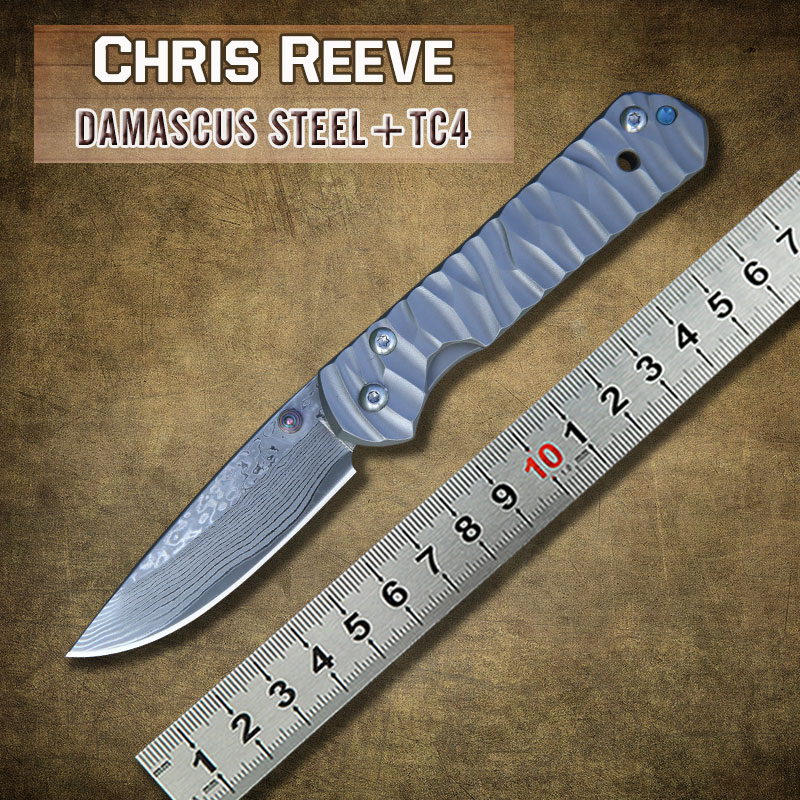 Гаджет  Chris Reeve small Sebenza 21 Titanium Handle Damascus steel blade Folding Pocket Knife camping Tactical survival knives edc tool None Инструменты