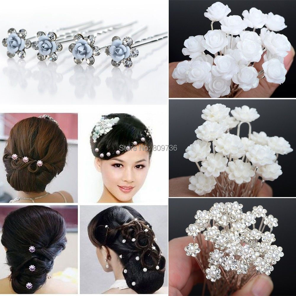 20/4Wedding Bridal Pearl Hair Pins Flower Crystal Clips Bridesmaid Jewelry 5 Styles hairpin - sunny china's store (No Minimium store)