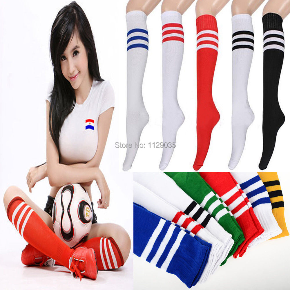 2015 100% Women Lady Ball Cotton Thick Knee High Stripe Hosiery Long Stripe Football Soccer Hose Chaussette Party Calze Stocking(China (Mainland))