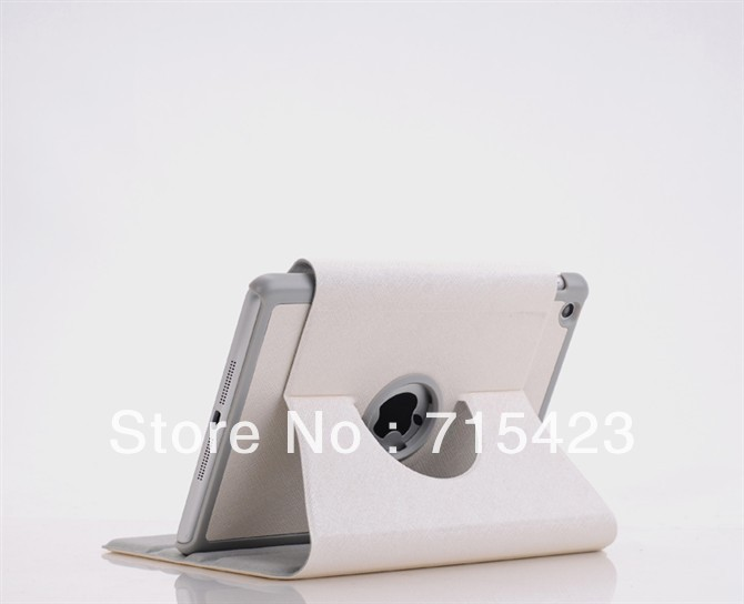White Case For iPad Mini 360 Degree Rotation Hardware Style With Sleep Function,Free Shipping,100%New Quality Warranted.(China (Mainland))