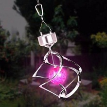 2016 Color Changing Solar Powered Garden Light Outdoor Courtyard Hanging Spiral Lamp LED Wind Spinner garden Tree Lights Decor(China (Mainland))