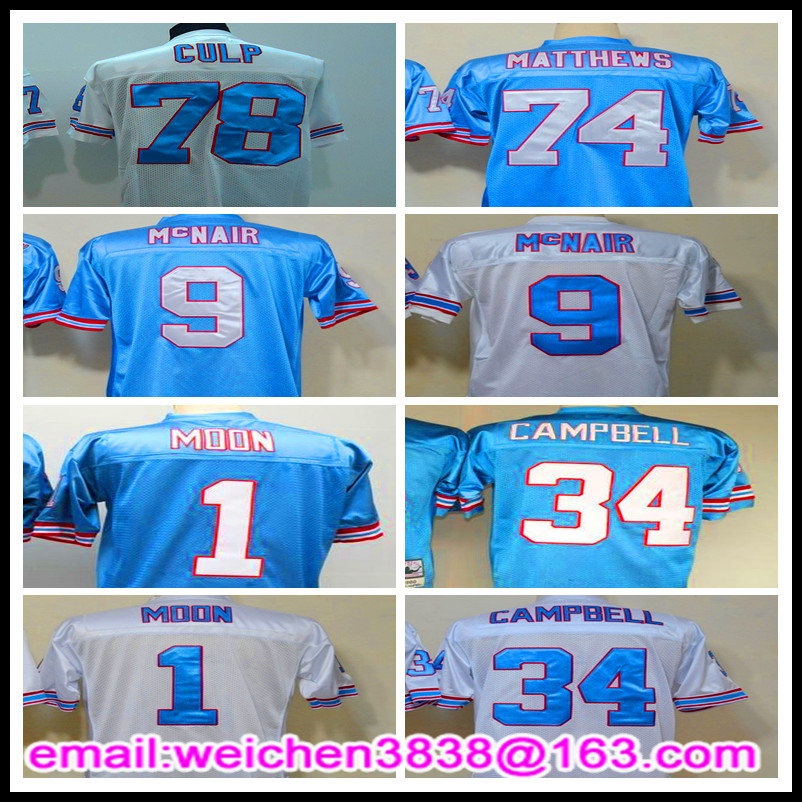 Free Shipping 74 Bruce Matthews 9 Steve McNair 1 Warren Moon 34 Earl Campbell 78 Curley Culp Jersey Retro Throwback Shirts(China (Mainland))