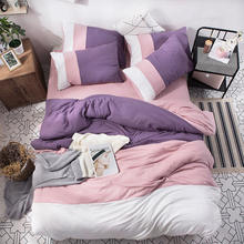 Japanese Bedding Sets Polyester Solid Color Bed Sheet Pillowcase Twin Full Queen Size Washed Cotton Bedding Set jogo de cama(China)