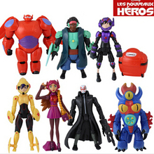 8pcs Big Hero 6 Hiro/Baymax/Go Go/Wasabi No Ginger PVC Figure Toy Set Loose Joints can move Wholesale Cartoon Cool(China (Mainland))