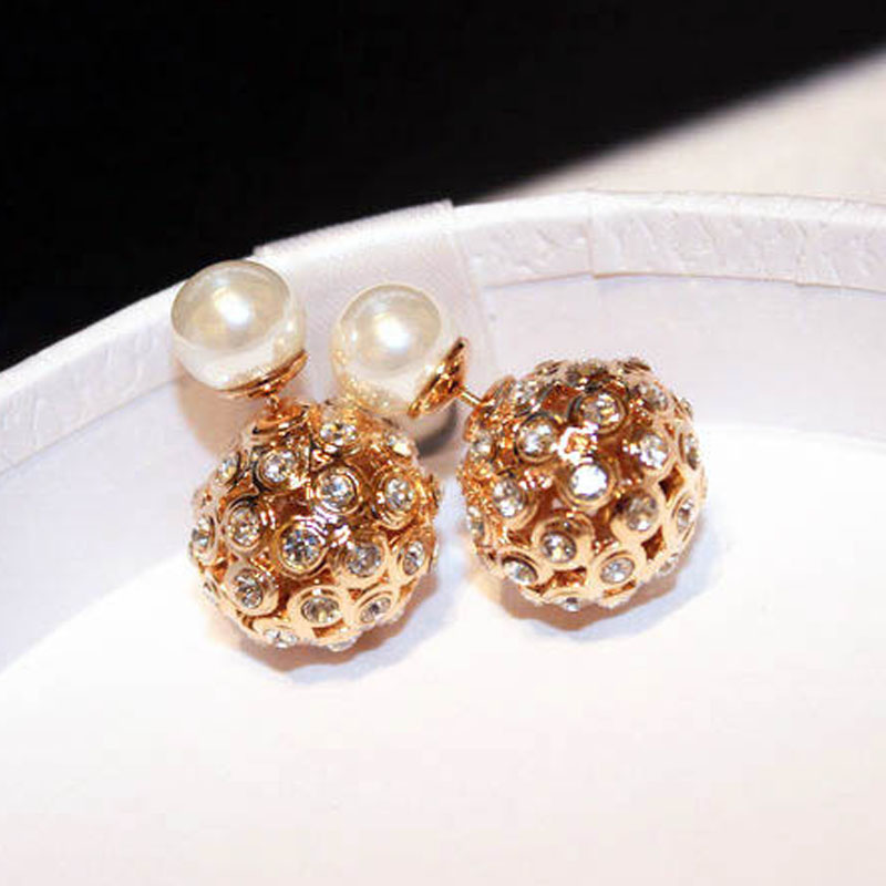 Momo Rose gold ball earrings Double-Faced Simulted-Pearl Pierce Earrings Dual-use brinco orelha completa round ball studs(China (Mainland))