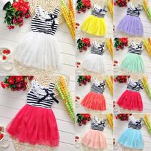 2-6Y Kids Girls Stripe Lace Tutu Dress Brace Bowknot Ruffle Tulle Baby One-piece Dresses