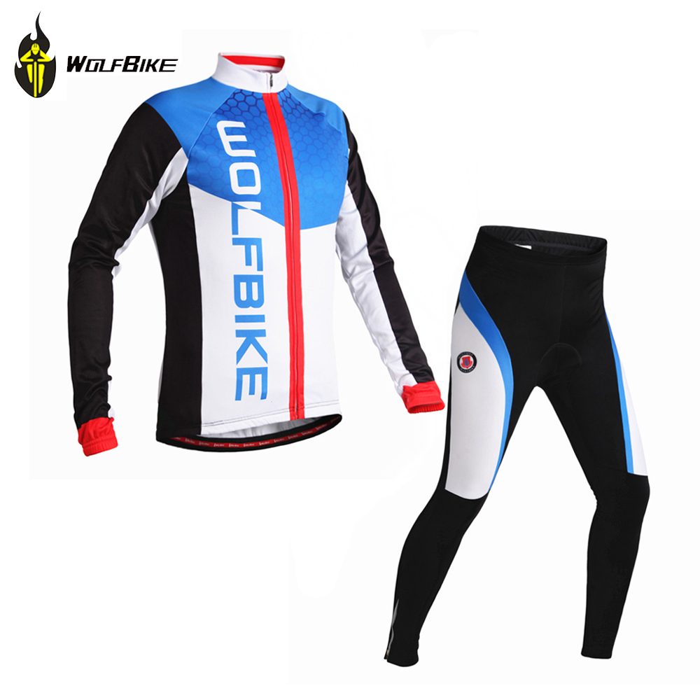 Wolfbike Cycling Jersey Long Sleeve Fleece Thermal Winter Jacket &amp; Pants Kit Bicycle Outdoor Wind Coat Bike Jersey Blue/Red<br><br>Aliexpress