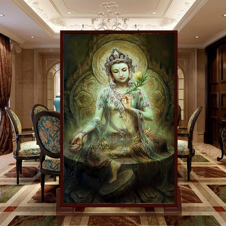 Free shipping large mural wallpaper tv sofa backdrop for Buddha mural art