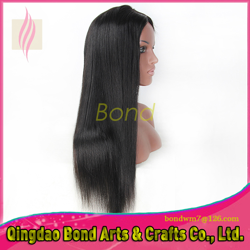 Фотография 7A Grade Natural Straight lace front wig unprocessed Brazilian glueless lace front hair wigs for black women