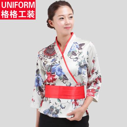Customized Embroidery Top Japanese Korea Kimono Sushi cuisine female chef master overalls uniform kitchen cook long shirt jacket(China (Mainland))