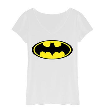 Cartoon Batman T Shirts Women Cotton V Neck Woman T-Shirt