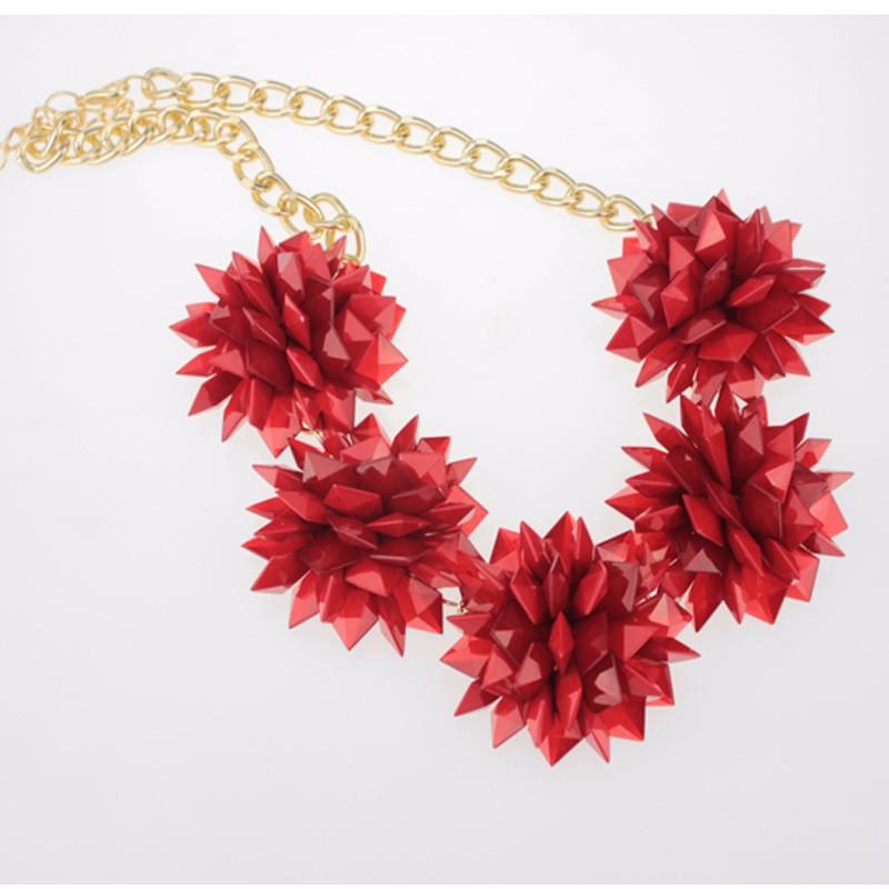 2016 весной люксовый бренд ювелирные изделия многослойные дизайн цвет цепь цветок смолаы бренд заявление ожерелье оптовая продажа розовый женщина NK813