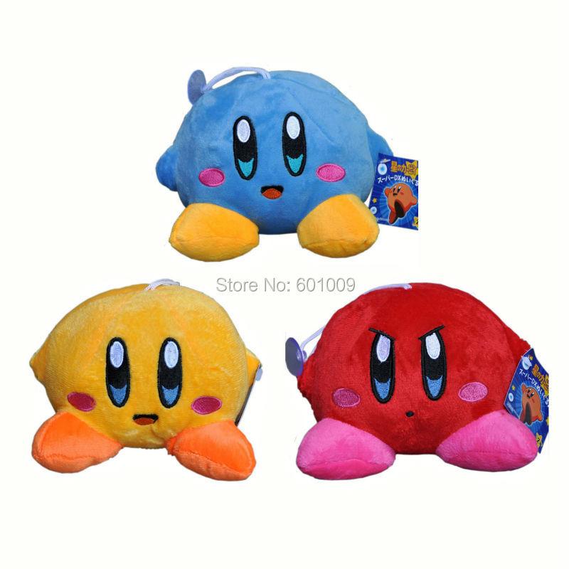 """Free Shipping 1PCS Star New KIRBY Blue / Red / Yellow Plush doll Stuffed Toy 5""""(China (Mainland))"""