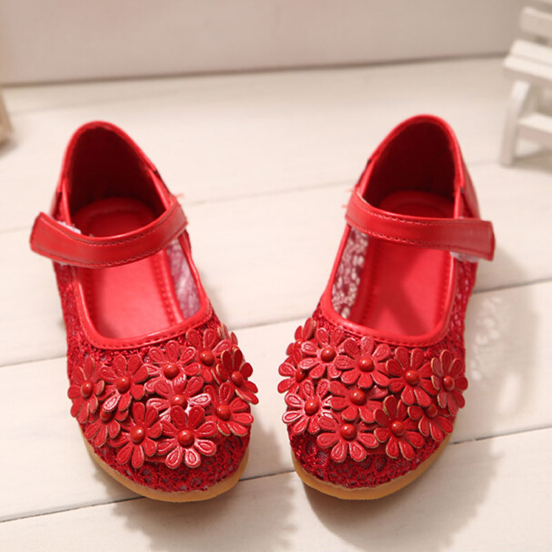 girls kids Lace sandals summer 2015 children casual floral Sandals girl shoes velcro flat with single