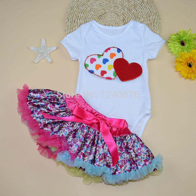 2015 Top Fashion Baby Saia Skirt Set Leopard Floral Princess Newborn Tutu Pettiskirt with Heart Print Valentines Bodysuit(China (Mainland))