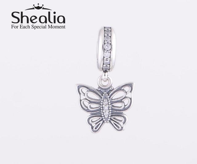 Аутентичные стерлингового серебра 925 винтаж бабочка мотаться подвески подвеска проложить циркон подходит шарма и браслеты ожерелье