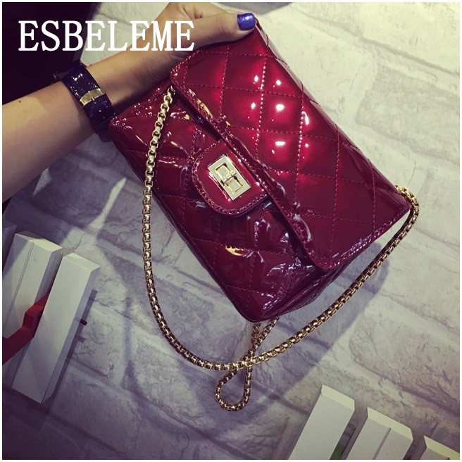 Famous Brand 2017 Women Evening Bags Patent Leather Female Chain Bag Burgundy Black Silver Ladies Shoulder Crossbody Bags YI229(China (Mainland))