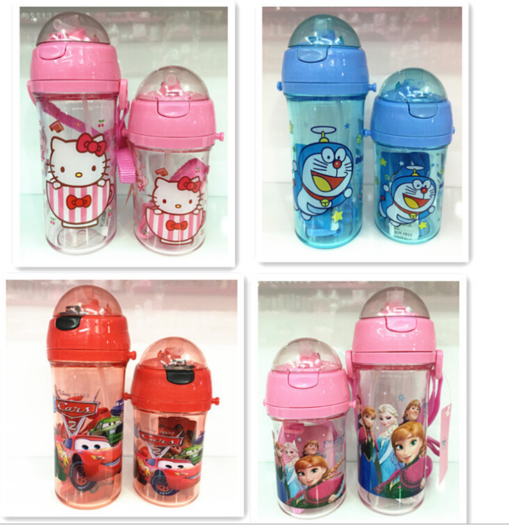 400ml-600ml children's gift water bottle Cartoon Minnie Mouse,Elsa,kids Water Bottle Drink ware Straw Cups,hello kitty baby cup(China (Mainland))