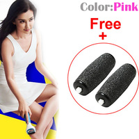 Pink Perfect Electronic Pedicure Foot File + Free 2 Replacement Roller Heads Home Use Handheld Foot Care Set Tool