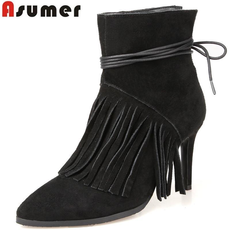Здесь можно купить  2016 new arrival fashion sexy thin high heels pointed toe genuine leather ankle boots solid black gray tassel casual boots  Обувь