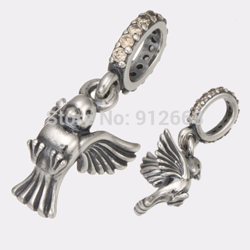 925 Sterling Silver Beads Fit Pandora Bracelet Dove Of Peace Charms(China (Mainland))