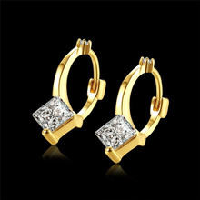 24K Gold Plated Earring Jewelry Simple Geometric Copper Metal Ear Ring Women Fashion Accessories Gift for Party Wedding 85AKE149
