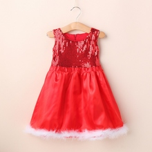 High Quality Baby Girl Toddler Wedding Sundress Red Sequin Sleeveless Party Dress