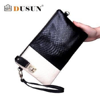 Dusun оптовая продажа 3D змеиной натуральная кожа сумка свободного покроя женщины клатч кошельки и сумки сумка конверт bolsas femininas