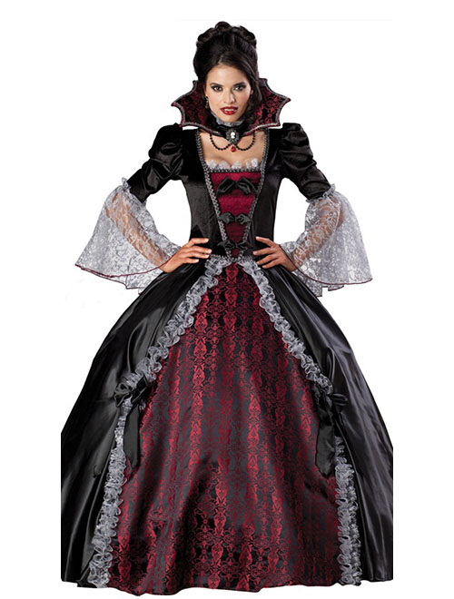 Halloween Noble Queen Vampire Costume sexy gothic halloween carnival party fantasia Fancy dress female devil cosplay costume(China (Mainland))
