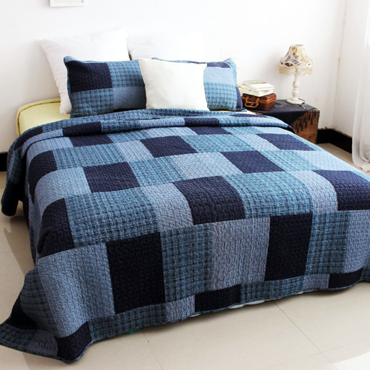 blue plaid quilted bedspread checkered style cotton. Black Bedroom Furniture Sets. Home Design Ideas