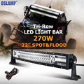 Oslamp 22inch 270W Tri row CREE Chips Curved LED Light Bar Combo Led Work Light Offroad