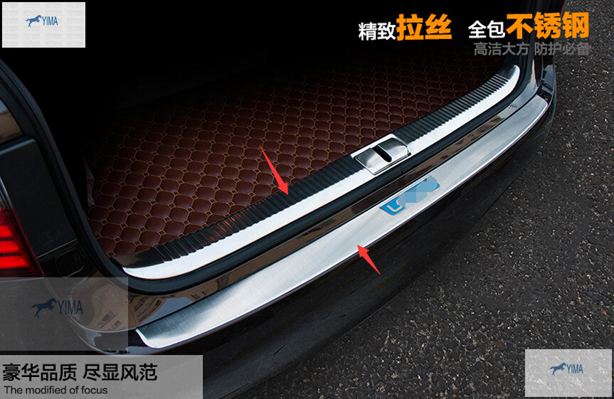 Фотография For Lexus ES 250 350 300h 2014 Stainless Steel Inner & Outer Rear Bumper Protector Sill Plate 2pcs / set