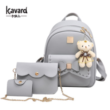 Buy Kavard Fashion Backpack Women Pu Leather Back Pack Famous Brand School Bags Girls sac dos femme Purse Bear 2017 for $20.70 in AliExpress store