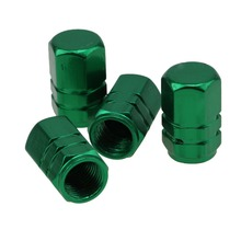 Free Shipping  Green Aluminum 4 PCS Car Wheel Tire Valves Tyre Stem Air Caps Airtight Cover for Volvo Wheel Valve Cap (China (Mainland))