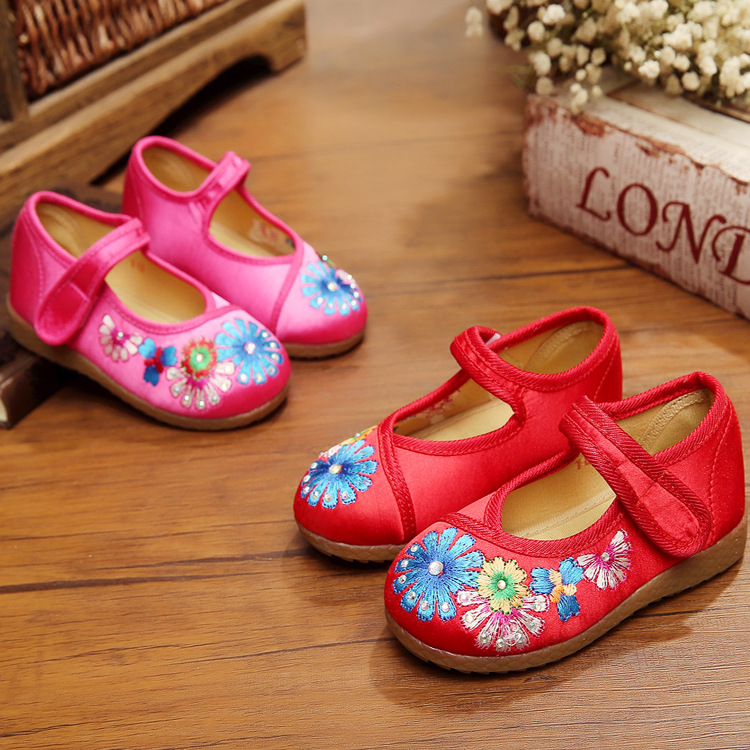 Children Shoes Girls Princess Kids Shoes 2016 Spring Autumn Baby Shoes Kids European Floral Baby Girls Embroidery National Flats(China (Mainland))