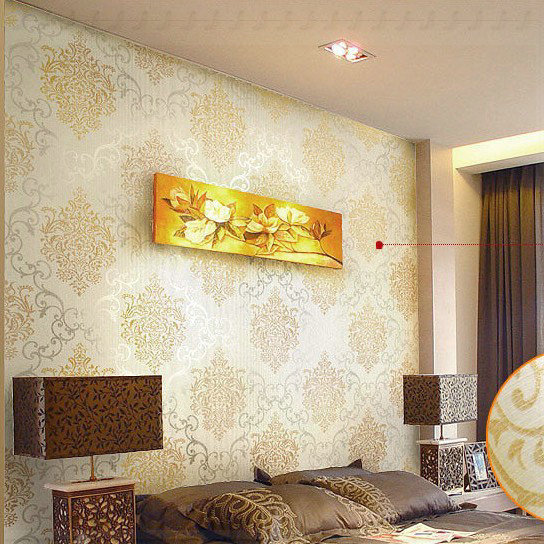 Luxury gold damask wallpaper modern wall paper beige non for Gold wallpaper living room