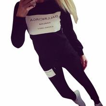 2PCS Autumn Activewear Suit Women Sweatshirt Tracksuit Tops Blouse+Long Pants TQ