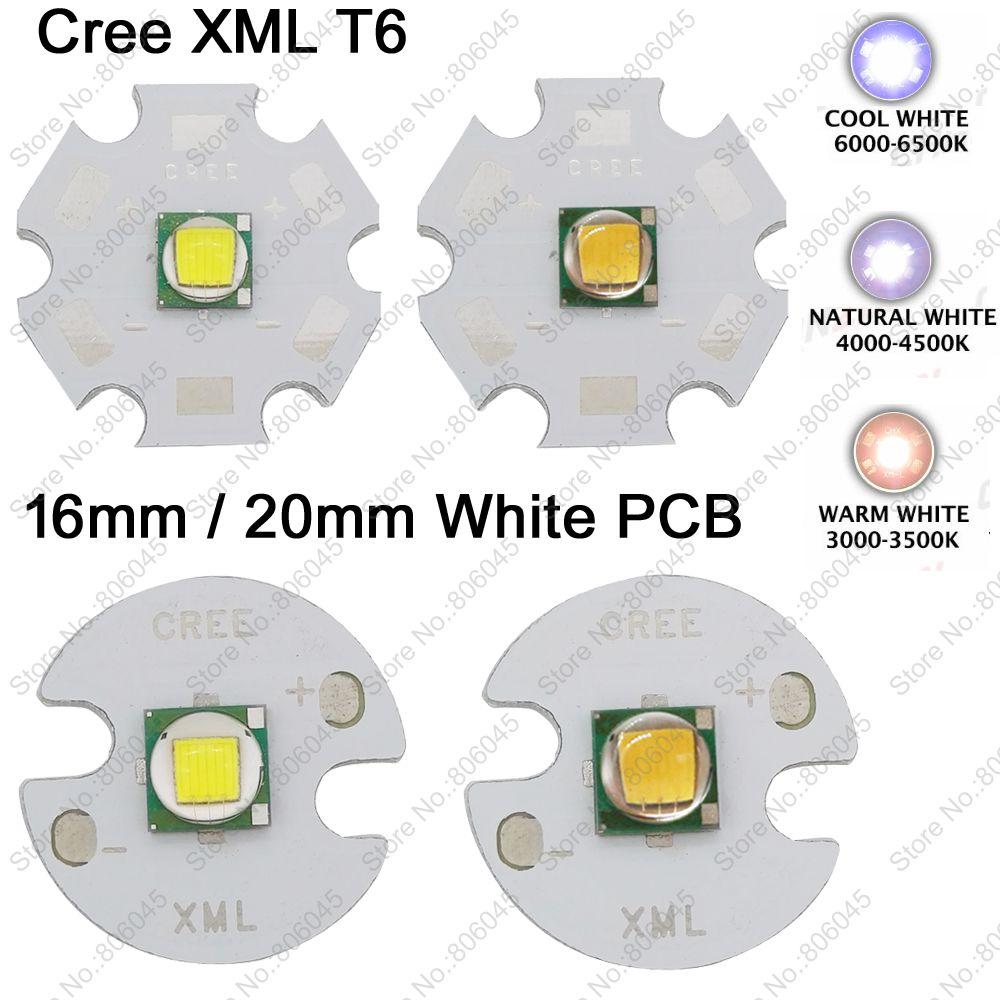 CREE XML XM-L T6 10W Cool White 6500K Neutral White 5000K Warm White 3000K High Power LED Emitter 16mm 20mm White Aluminum PCB(China (Mainland))