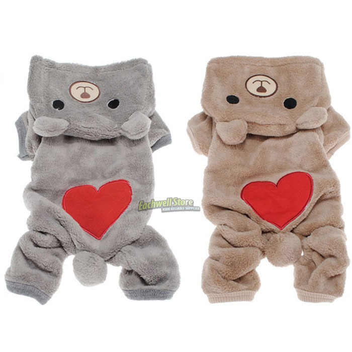 Bear Small Pet Dog Clothes Fleece Clothing with Hoodies Teddy Autumn Winter Puppy Apparel Dog Costume Jumpsuit Jumpers Outfit(China (Mainland))